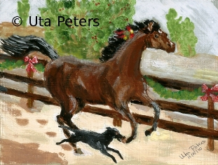 Painting of horse racing with dog.