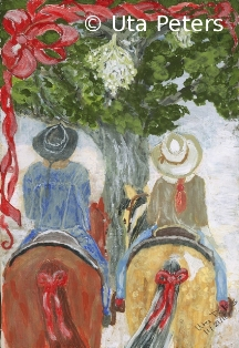 Painting of two riders under the mistletoe.