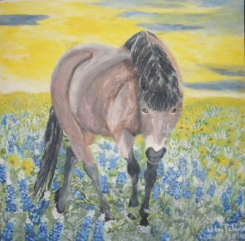 Painting of Icelandic horse in field of flowers.